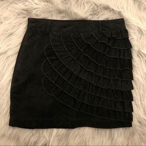 Velvet mini ruffled skirt